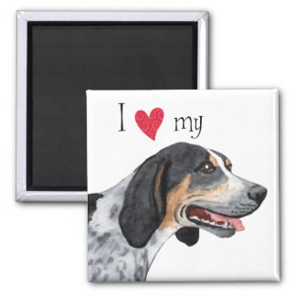 I Love my Bluetick Coonhound 2 Inch Square Magnet