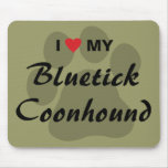 I Love My Bluetick Coonhound Pawprint Mouse Pad