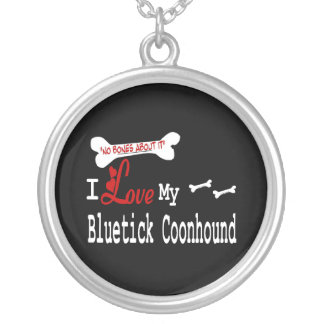 I Love My Bluetick Coonhound Round Pendant Necklace