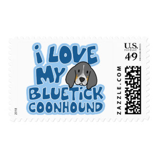 I Love My Bluetick Coonhound Stamps