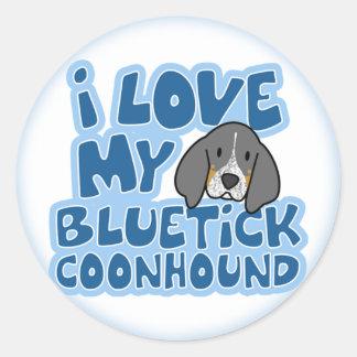 I Love My Bluetick Coonhound Stickers