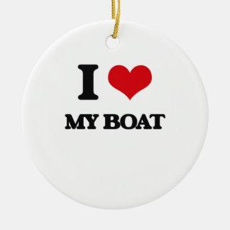 I Love My Boat Ceramic Ornament