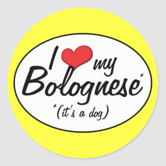 I Love My Bolognese (It's a Dog) Classic Round Sticker