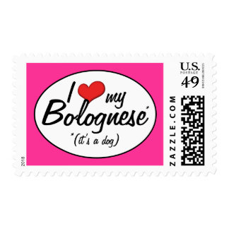 I Love My Bolognese (It's a Dog) Postage Stamps