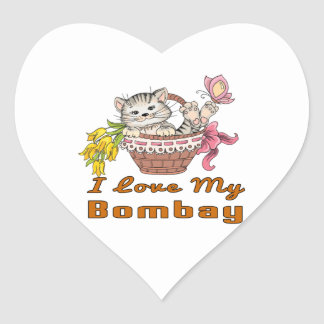 I Love My Bombay Heart Sticker