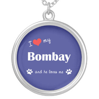 I Love My Bombay (Male Cat) Round Pendant Necklace