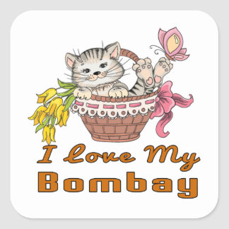 I Love My Bombay Square Sticker