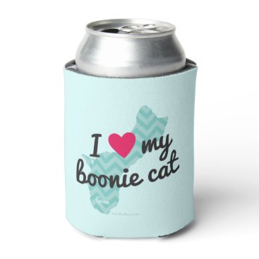 Beach Themed I Love My Boonie Cat Blue) Can Cooler