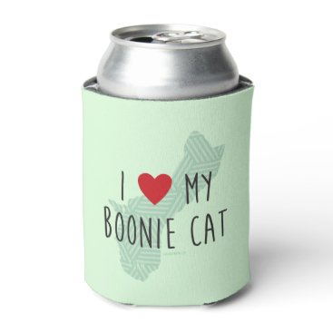 Beach Themed I Love My Boonie Cat Green) Can Cooler