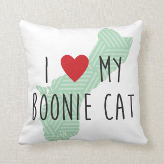 I Love My Boonie Cat Pillow (Green)