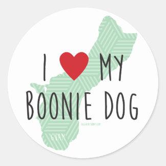 I Love My Boonie Dog Stickers (Green)
