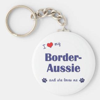 I Love My Border-Aussie (Female Dog) Keychains