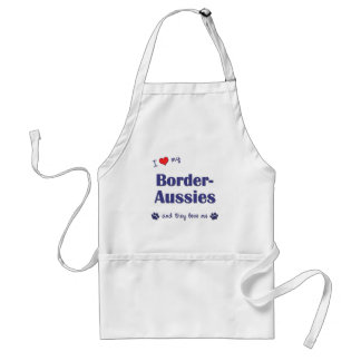 I Love My Border-Aussies (Multiple Dogs) Adult Apron