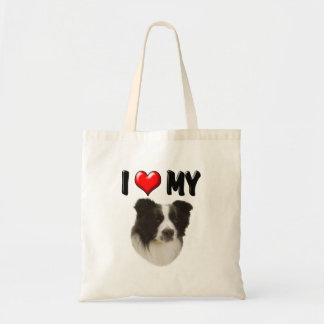 I Love My Border Collie Canvas Bags