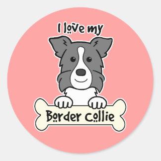 I Love My Border Collie Classic Round Sticker