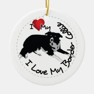 I Love My Border Collie Dog Ceramic Ornament