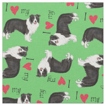 I Love my Border Collie Fabric