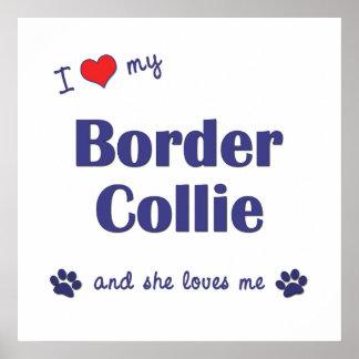 I Love My Border Collie Female Dog Print