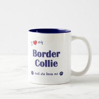 I Love My Border Collie (Female Dog) Two-Tone Coffee Mug