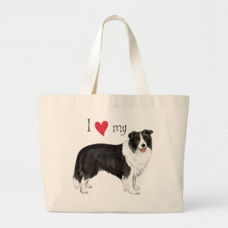 I Love my Border Collie Large Tote Bag
