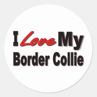 I Love My Border Collie Merchandise Classic Round Sticker