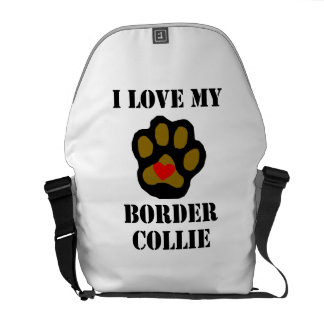 I Love My Border Collie Courier Bags