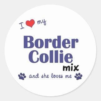 I Love My Border Collie Mix (Female Dog) Classic Round Sticker