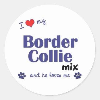 I Love My Border Collie Mix (Male Dog) Classic Round Sticker