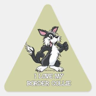 I Love my Border Collie Triangle Sticker