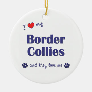 I Love My Border Collies (Multiple Dogs) Double-Sided Ceramic Round Christmas Ornament