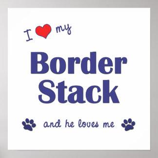 I Love My Border Stack Male Dog Print