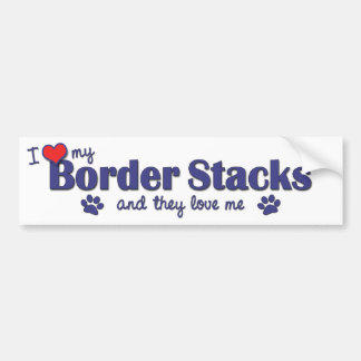 I Love My Border Stacks (Multiple Dogs) Bumper Stickers