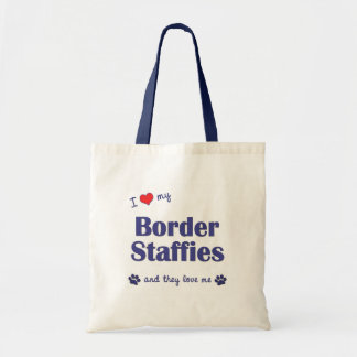 I Love My Border Staffies (Multiple Dogs) Budget Tote Bag