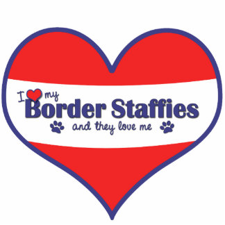 I Love My Border Staffies (Multiple Dogs) Photo Sculpture Ornament