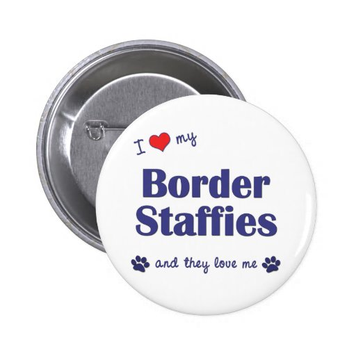 I Love My Border Staffies (Multiple Dogs) Pins