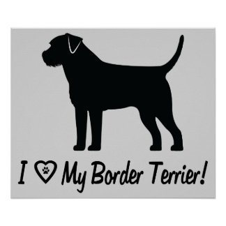 I Love My Border Terrier with Paw Prints