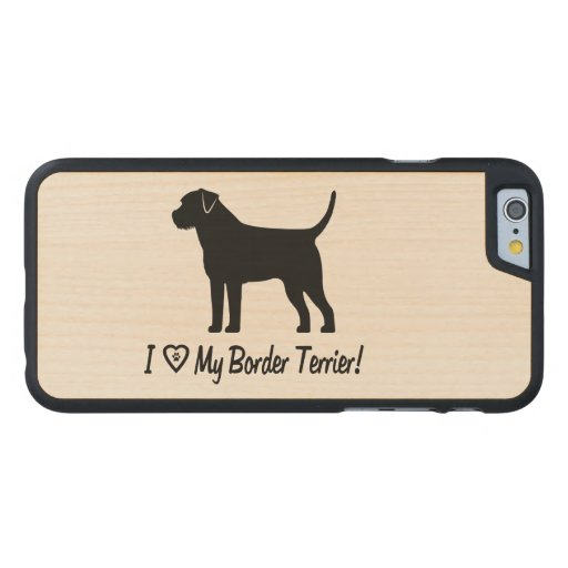 I Love My Border Terrier with Paw Prints Carved® Maple iPhone 6 Case