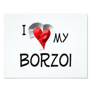 I Love My Borzoi 4.25x5.5 Paper Invitation Card