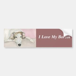 I Love My Borzoi Dog Art Bumper Sticker Car Bumper Sticker