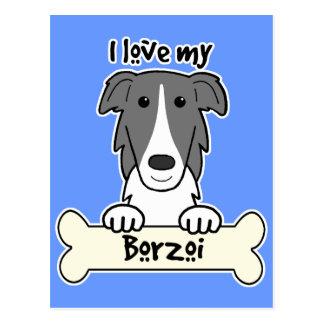 I Love My Borzoi Postcard