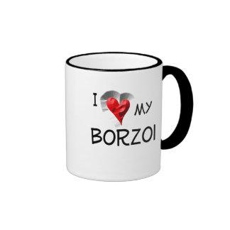 I Love My Borzoi Ringer Coffee Mug