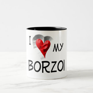 I Love My Borzoi Two-Tone Coffee Mug