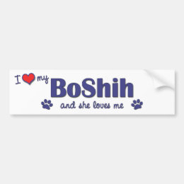 I Love My BoShih (Female Dog) Bumper Sticker