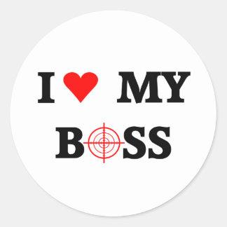 I Love My Boss Classic Round Sticker