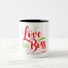 I Love my Boss Two-Tone Coffee Mug
