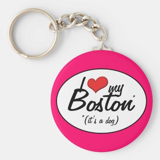 I Love My Boston (It's a Dog) Basic Round Button Keychain