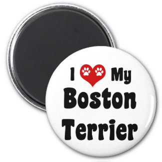 I Love My Boston Terrier 2 Inch Round Magnet
