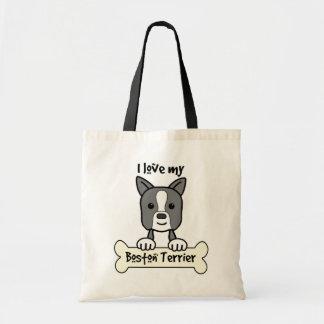 I Love My Boston Terrier Tote Bags