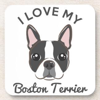 """I Love My Boston Terrier"" Coaster Set"