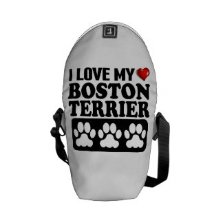 I Love My Boston Terrier Courier Bag
